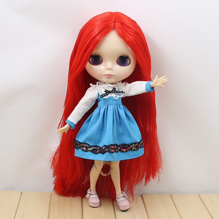 Bjd doll 1/6 B female Nude Blyth doll with joint body blyth doll diy long red hair toys