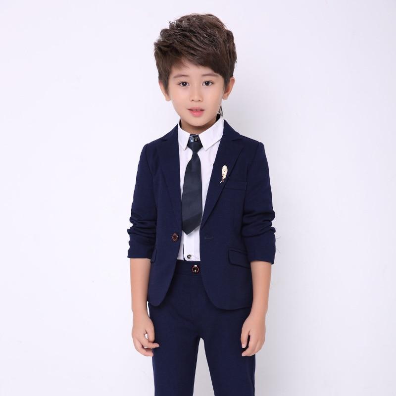 Flowers Boys Formal Jacket + Pants 2Pcs Wedding Suit Birthday Party Dress Kids Piano Tuxedo Children Prom Performance Costume 5