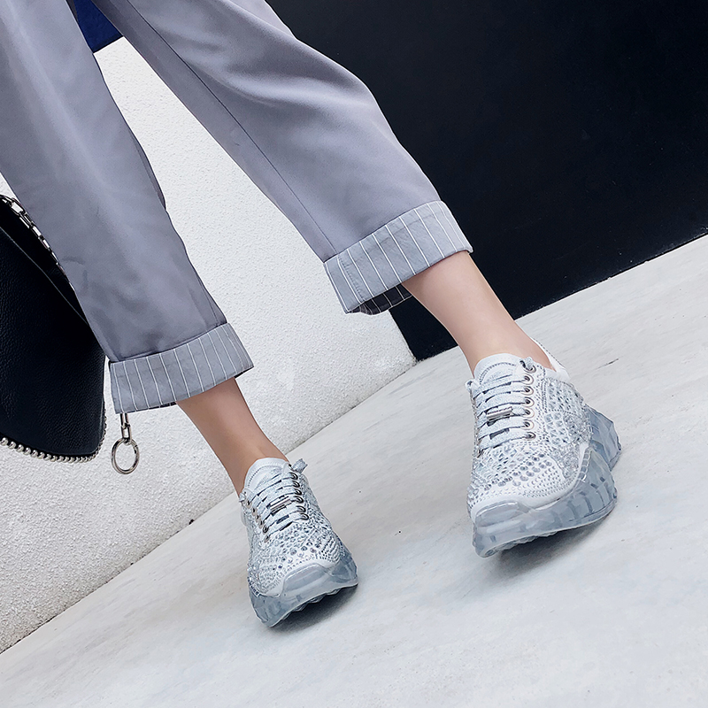 2019 Spring Newest All Rhinestone Sneakers Genuine Leather Women Shoes Oxford Sole Chunky Sneakers Harajuku Casual Dad Shoes2019 Spring Newest All Rhinestone Sneakers Genuine Leather Women Shoes Oxford Sole Chunky Sneakers Harajuku Casual Dad Shoes