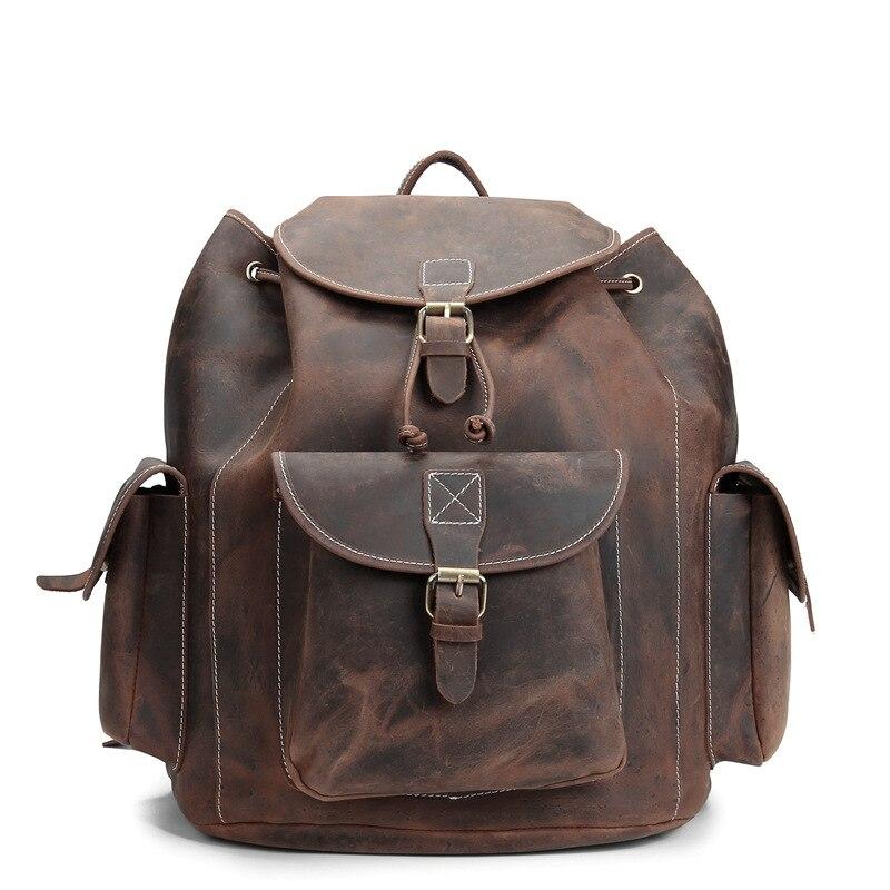 YISHEN unisexe Vintage sac à dos fou cheval en cuir véritable petit sac solide hommes femmes mode voyage sac à dos sac d'école MS8891-1