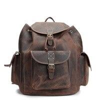 Yishen унисекс Винтаж рюкзак Crazy Horse Пояса из натуральной кожи мелких твердых сумка Для мужчин Для женщин мода путешествия рюкзак мешок школы