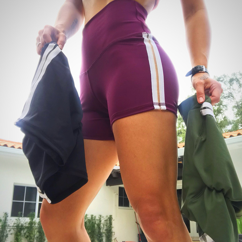 2018 High Waist Push Up Elastic Shorts Women Workout Sexy Fitness Skinny Striped Short Activewear Slim Sporting Shorts (1)