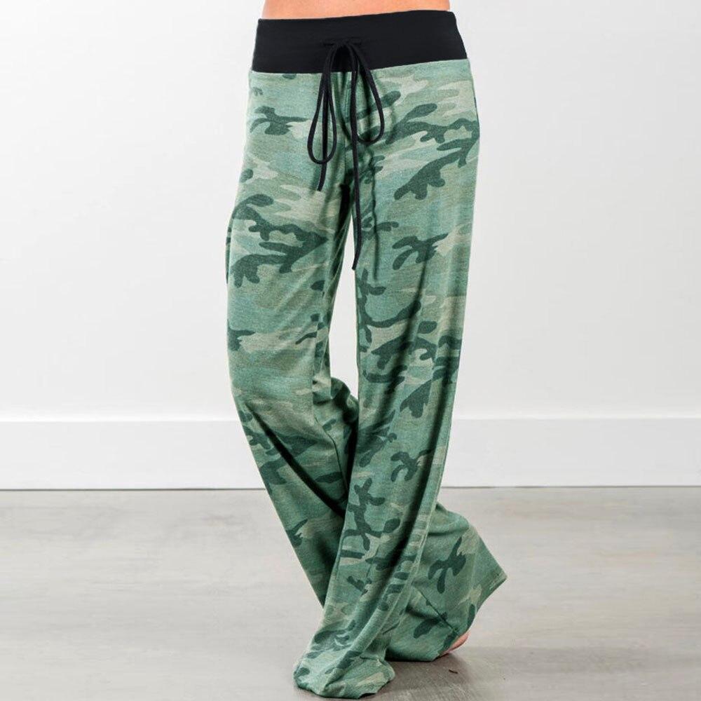 Baggy Loose Joggers Women's Pants Female Sports Camo Pants For Women Trousers Plus Size Wide Leg Pants Palazzo Sweatpants Green