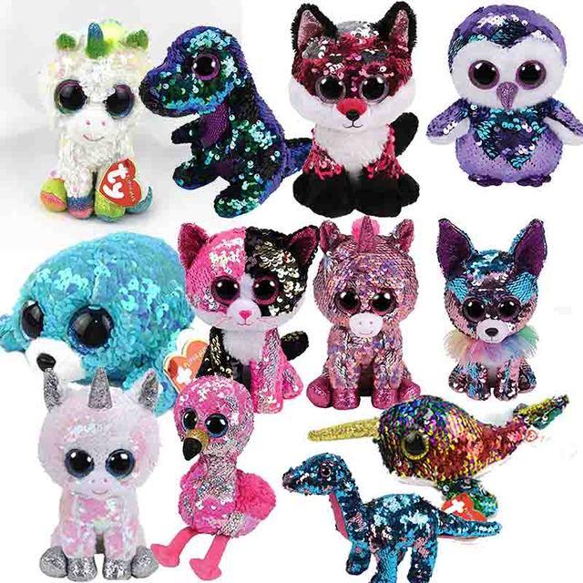 7128834f787 Ty Beanie Boo Cinder Saffire Darla Dragon Lion Lamp CatPenguin Owl Pig  Unicorn Wolf Fox Dog Plush Toy Doll Stuffed Animal