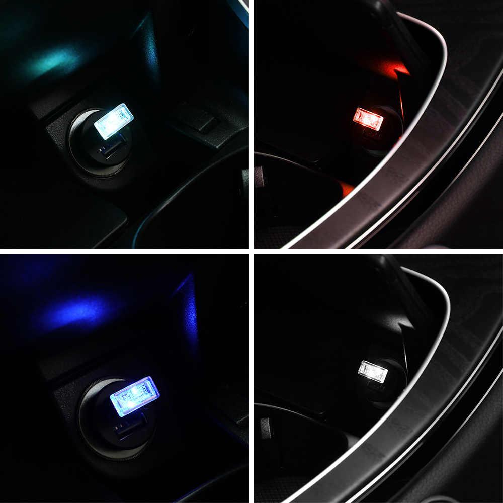 Car LED Atmosphere Light USB Socket Interior Decorative Lamp Emergency Lighting Universal For PC USB Plug Play luz usb coche