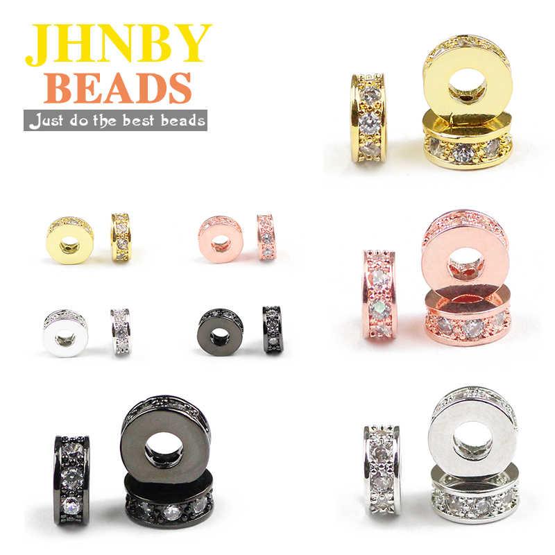 JHNBY 4 cái Coin Copper Spacer hạt 7.5 mét phẳng Vòng Pave CZ Charms Vàng Loose beads đối Jewelry bracelet làm DIY phụ kiện