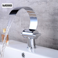 MOIIO New Style Bathroom Faucet Brass Contemporary Waterfall Basin Vanity Vessel Sinks Mixer hot and cold waterfall Tap