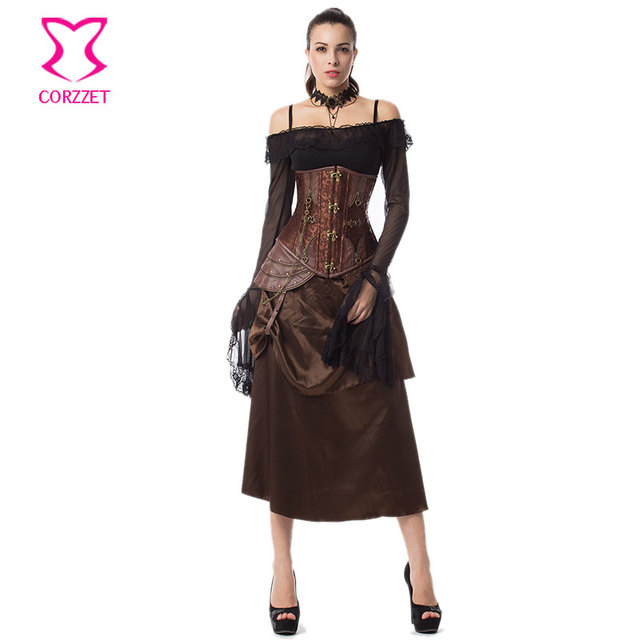 d5589b07e92 Vintage Floral Brocade and Leather Steel Boned Underbust Corset Dress  Steampunk Clothing Burlesque Corsets and Bustiers