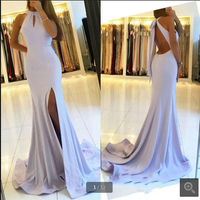 Elegant Halter evening dresses white Prom dress with split Sleeveless Floor length backless sexy evening gowns best selling