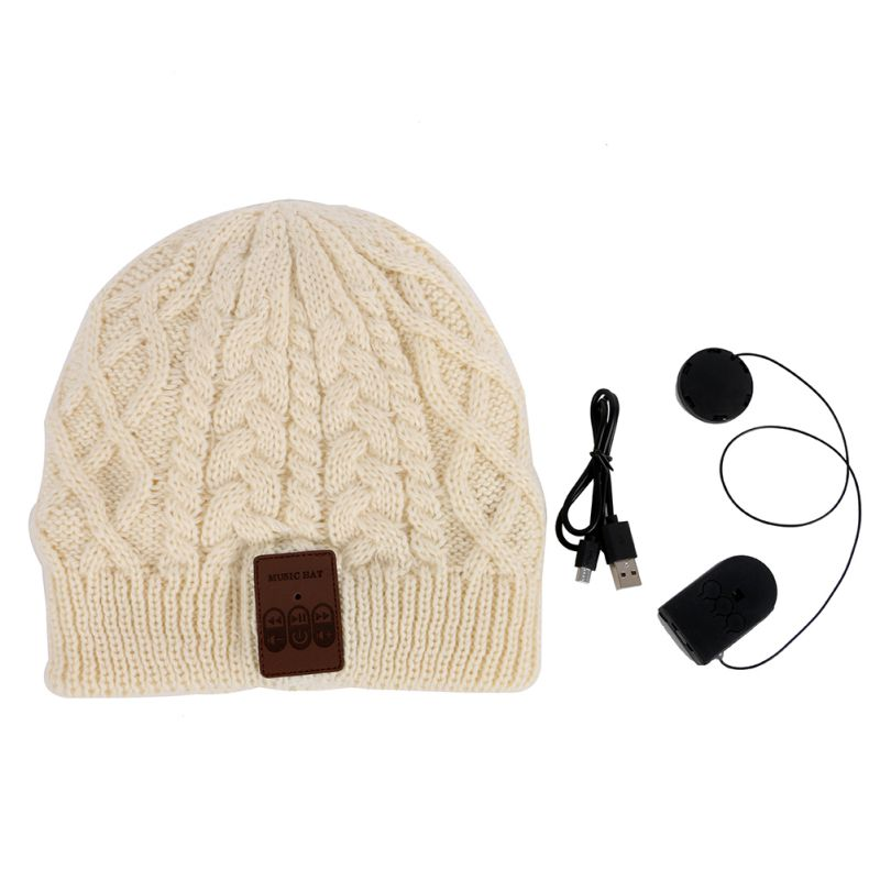 Black Beige Winter Warm Wireless Bluetooth Thick Knit Beanie Hat include  Built in Stereo Headphone Earphone and Microphone-in Skullies   Beanies  from ... 0a59cabd4d5