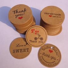 100 Uds. Gracias con corazón rojo etiquetas de regalo Kraft papel para fiesta de boda etiquetas de precios colgantes tarjetas de etiqueta