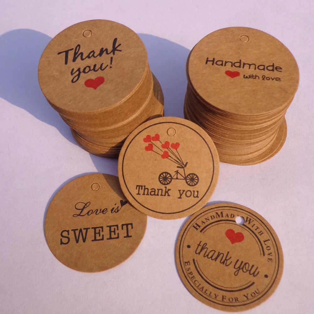 100pcs grazie con Cuore Rosso Kraft Tag Regalo di Festa di Nozze di Carta Cartellini dei Prezzi Carte Etichetta Modifica di Caduta