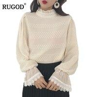 RUGOD Elegant Beige White Lace Chiffon Blouse Women 2018 Spring Sweet Petal Neck Flare Sleeve Blusas