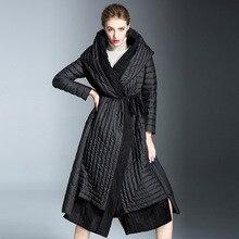 Women's fashion down jacket hooded woman winter long overknee length lace up wai
