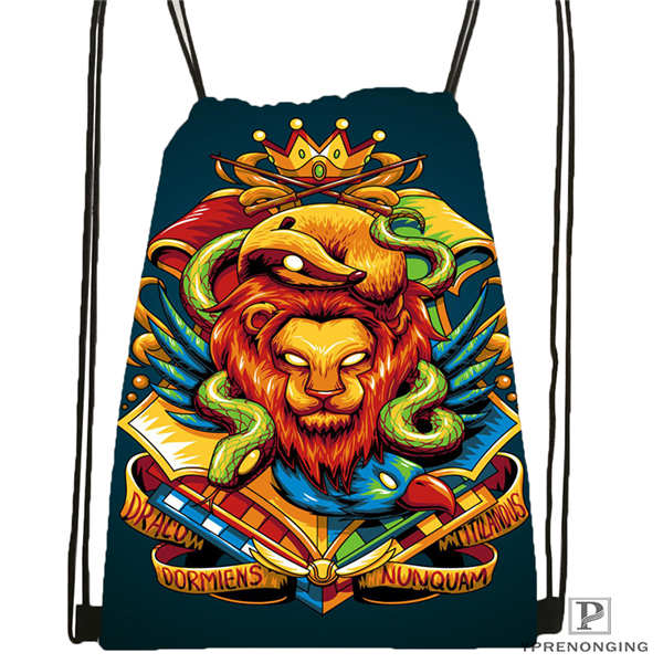 Custom Hufflepuff-@01-Drawstring Backpack Bag Cute Daypack Kids Satchel (Black Back) 31x40cm#180611-03-127
