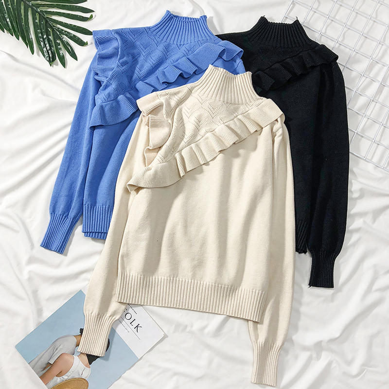 Women Ruffles Turtleneck Knitted Sweater Hollow Out Long Sleeve Stretchy Solid Pullovers Female Soft Warm Casual Slim Top Jumper