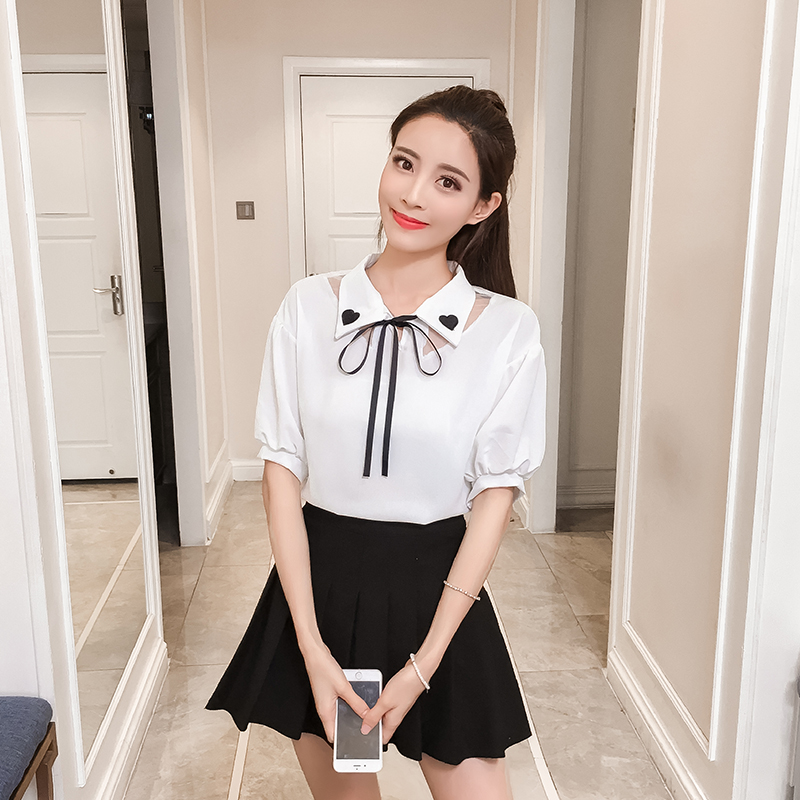 Fashion Cute Women Shirts Puff Sleeve Solid Patchwork Lace Slim \'s Love Embroidery Blouse Shirt White Hide Powder 6910