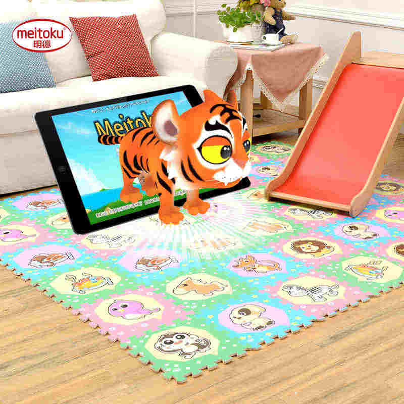 Meitoku 3D bebek oyun bulmaca oyun matı, 9 adet/grup çocuk birbirine koruma yer karoları, halı ve halı