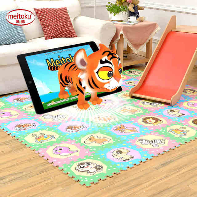 Meitoku AR 3D Smart Baby play puzzle play mat,9pcs/lot children ...