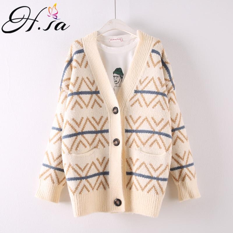 H. SA Повседневный женский свитер кардиганы на пуговицах негабаритный вязаный джемпер кардиганы Vneck геометрическое длинное пончо вязаная куртка верхняя одежда