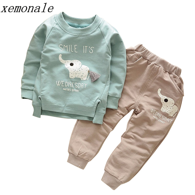 2018 New  Autumn Childrenb Clothing Spring Baby Children Boys Girls Cartoon Elephant Cotton  Sets T Shirt Pants 2 Pcs 1-5Y 2017 new spring women maternity t shirt