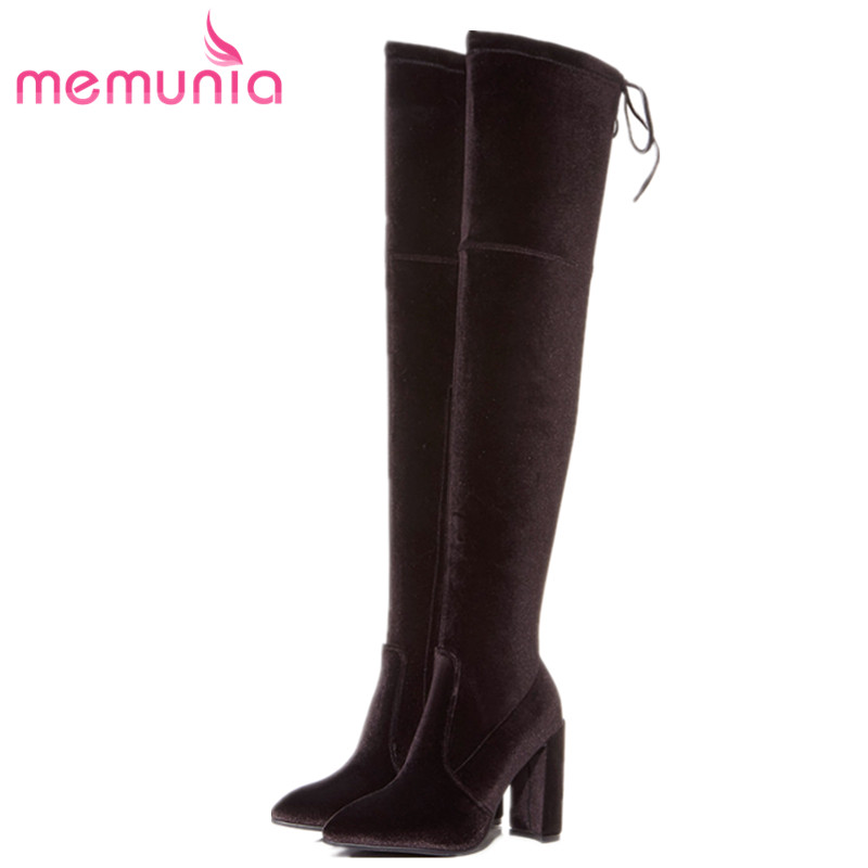 MEMUNIA Kid suede leather boots female over the knee boots for women in autumn winter fashion shoes woman high heels 9.5cm two short handle selector switch 22mm rotary knob one open close two gear