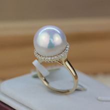 Women Gift word 925 Sterling silver real Orphan Edison pearl ring 13.6mm large Aurora 14K gold round domineering