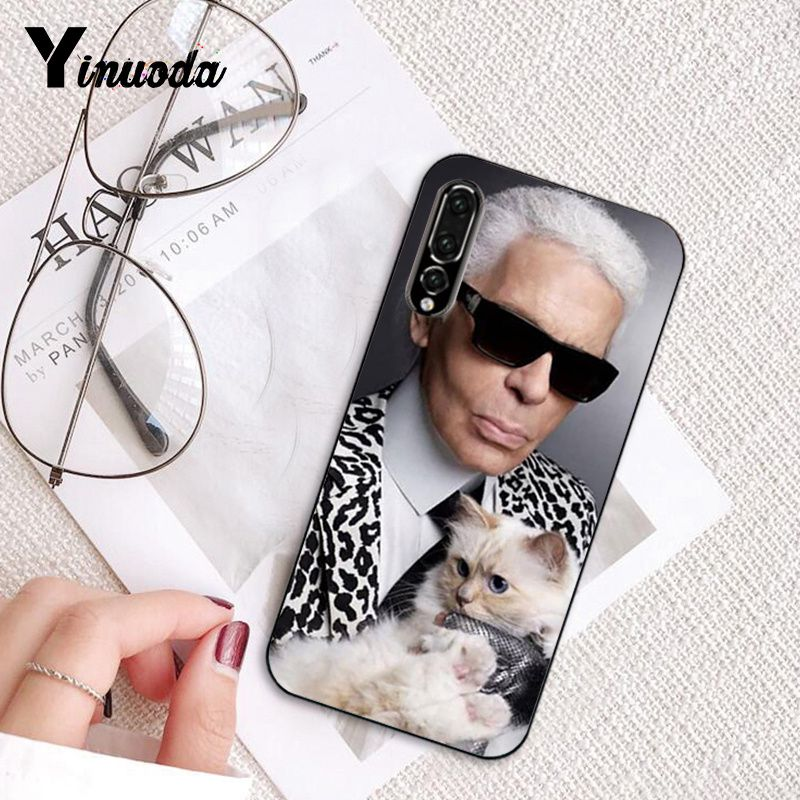Yinuoda Fashion Karl Lagerfeld TPU Soft Silicone Black Phone Case for Huawei P10 Plus Mate10 Mate20 Pro 10Lite P20 Pro Honor10 in Half wrapped Cases from Cellphones Telecommunications