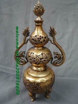 Collectable Ming Dynasty (xuan de1426-1438)Silver Dragon Incense Stove\Censer,Decoration,Free Shipping