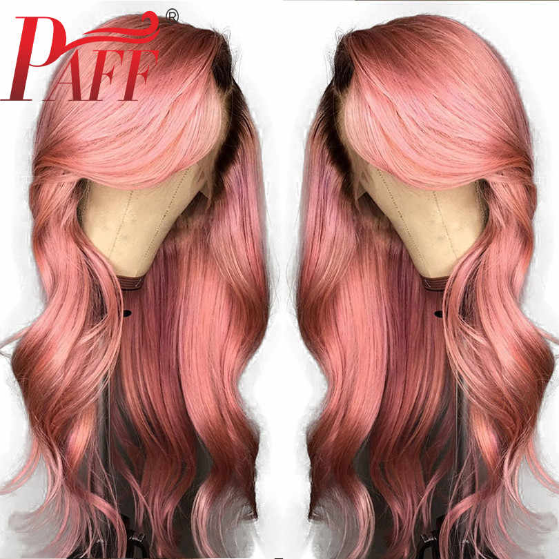PAFF перуанский Реми человеческие волосы Ombre розовый цвет спереди кружево парик предварительно сорвал Hairline локоны тело с ребенком волос Glueless