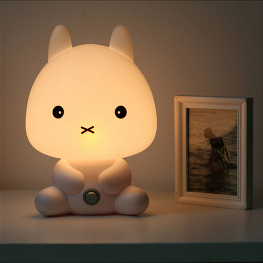 AC 220V EU Plug Baby Bedroom Lamps Night Light Cartoon Pets Rabbit Panda PVC Plastic Sleep Led Kid Lamp Bulb Nightlight Children