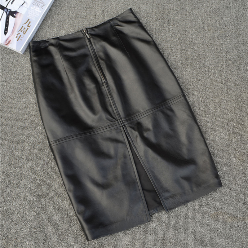 RYS625 Autumn Fashion Woman Genuine Leather Skirt Female Black/Red Sexy Midi Long Slim High Waist Step Placketing Bust Faldas