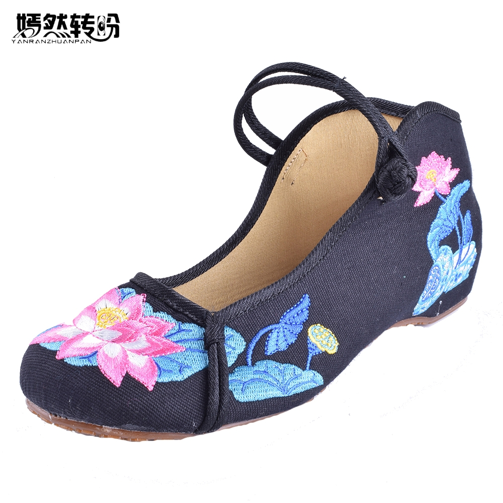 Women Flats Shoes Chinese Lotus Embroidery Canvs Shoes Casual Ladies Mary Jane Woman Ballet Flat Dance Single Shoes peacock embroidery women shoes old peking mary jane flat heel denim flats soft sole women dance casual shoes height increase