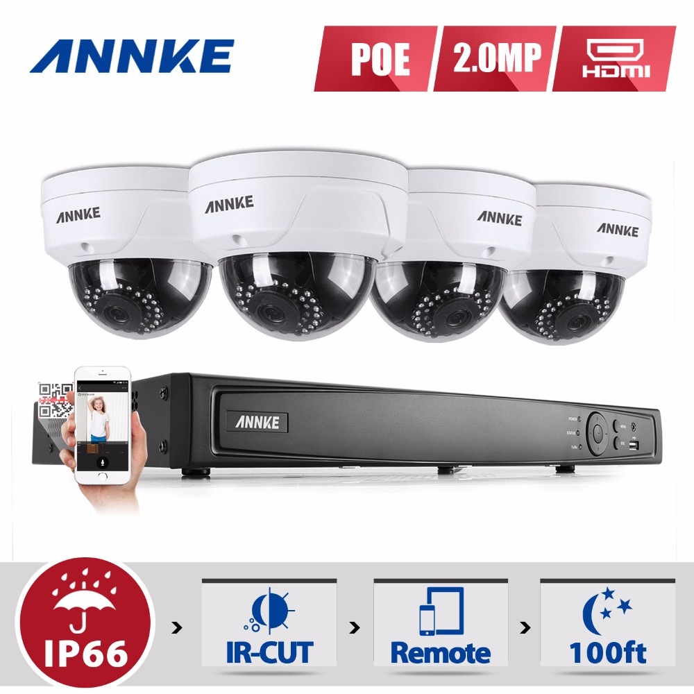 ANNKE Full HD 8CH NVR 1080P POE CCTV System Kit 2MP Indoor/ Outdoor IP Camera Waterproof IR P2P Video Security Surveillance