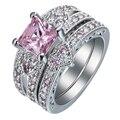 Prata banhado conjunto anel anel da cor do ouro da forma do coração preto rosa verde azul cz pavimentada branco zircon cut design moderno jóias anéis