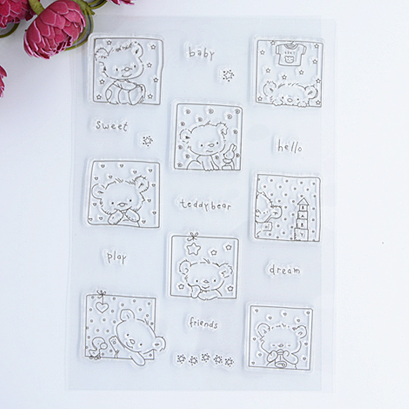 2017 new Scrapbook DIY Photo Album Account Transparent Silicone Rubber Clear Stamps Cute Photo Bear 10.5x15cm