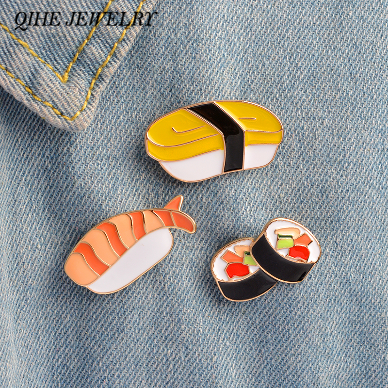 Набор украшений QIHE, 3 шт./компл., милые суши-штифты, японские пищевые жетоны, эмалированные штифты
