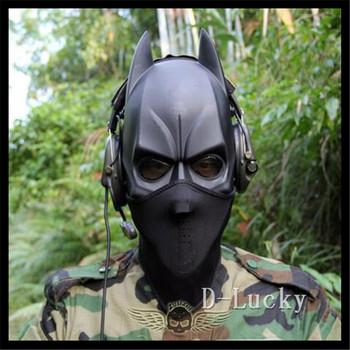 Top Quality 100% Resina Nera fronte Mezzo Batman Maschere ballo in maschera di Halloween Makeup Danza Maschera CS Maschera Gioco Giocattolo Spedizione Gratuita