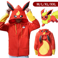 Pokemon Go Flareon Winter Warm Coat Sweater Hoodie Thermal Cosplay Cute With Ears For Lovers Couple