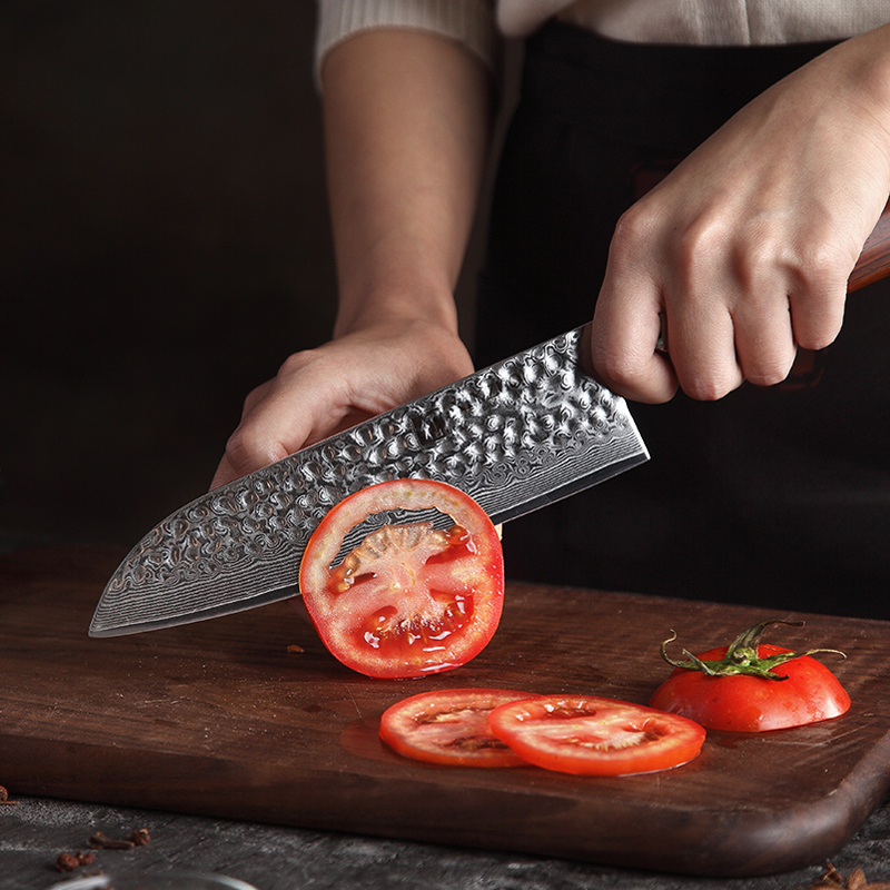 Image 4 - XINZUO 7PCS Kitchen Knife Set Damascus Steel Blades Chef Knife Sets Santoku Utility Paring Cooking Tools kitchen Rosewood HandleKnife Sets   -