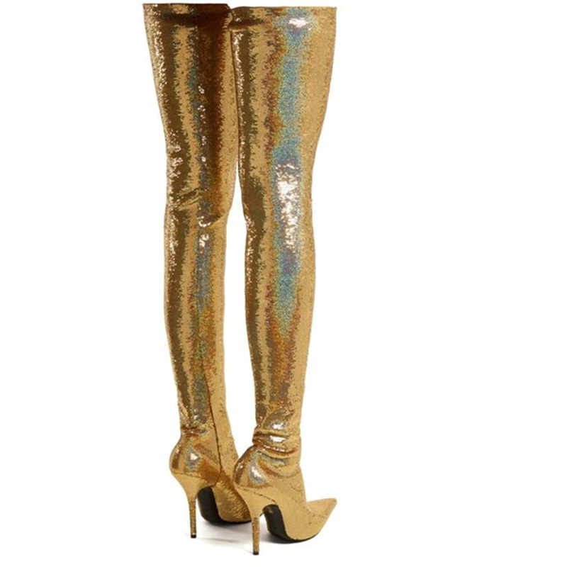 Bling Bling Pant Thigh high Boots Women Silver Gold Sequin Stretch  Stilettos Glitter Waist Bootcuts Party High Heel Shoes Woman-in Over-the-Knee  Boots from ... 9506f2523224