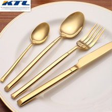 KTL 24 Pcs Golden Dinnerware Set Top Quality Stainless Steel 6 Dinner Knife and 6 Fork and 6 6 Teaspoon Golden Cutlery Set