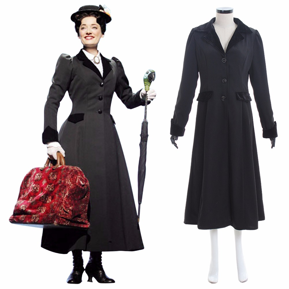Custom Made Mary Poppinss Cosplay Costume Adult Women Winter Fancy Party Costume Woolen Trench Jacket Costume L0516