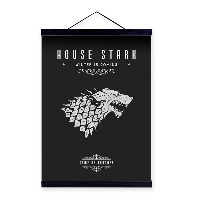 Modern Pop Movie Game Of Thrones Black White Stark Wooden Framed Canvas Painting Home Decor Wall Art Print Picture Poster Scroll