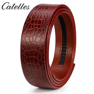 Image 2 - Catelles لا مشبك 3.5 سنتيمتر واسعة حقيقية حزام جلد طبيعي دون التلقائي مشبك حزام الذكور مصمم أحزمة حزام جلد الرجال 6045