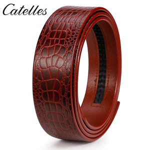 Image 2 - Catelles No Buckle 3.5cm Wide Real Genuine Leather Belt Without Automatic Buckle Strap Male Designer Belts Leather Belt Men 6045