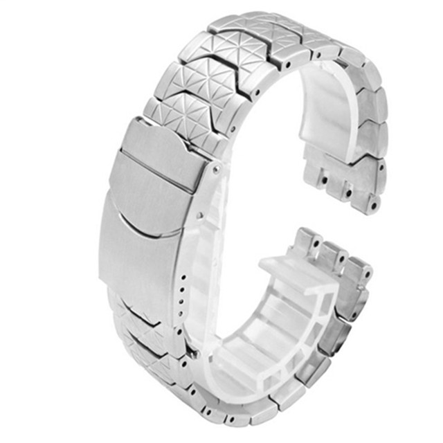Correa de acero inoxidable 19mm negro plateado doble profundo Recesses correa de repuesto para reloj para Swatch YRS correa de reloj