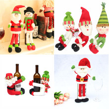 Free Shipping Christmas Decoration Supplies Cute Red Wine Bottle Covers Hold Toys for Home Parties Dinner Table Decoration