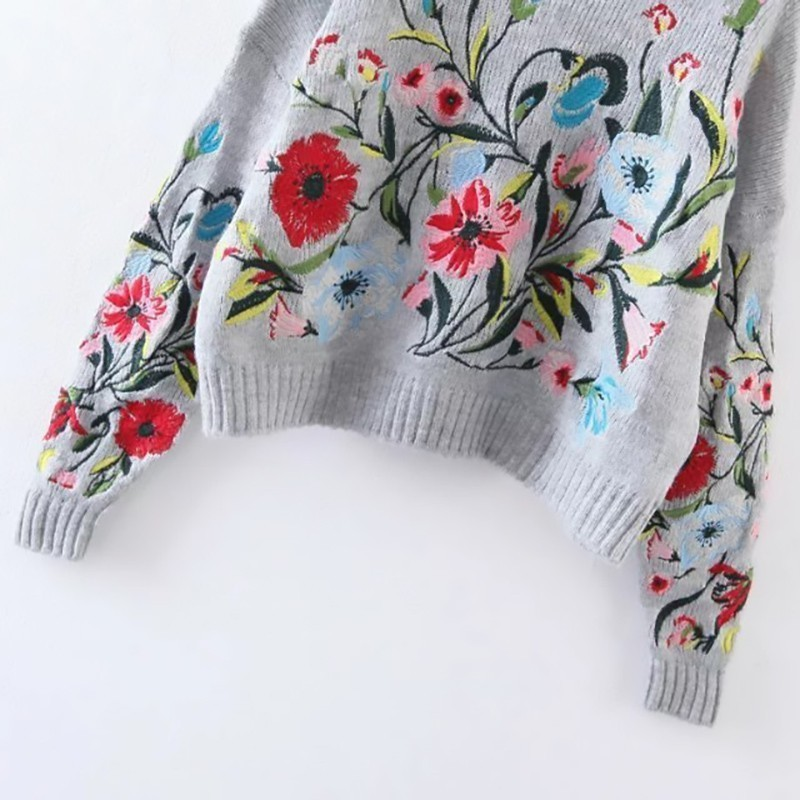 Flower Embroidered Sweater  3