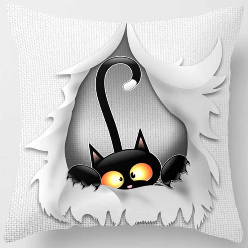 Funny cute cats pillow case two sides print pattern square pillow cases high definition cat pattern pillow cover 60 60cm in Pillow Case from Home Garden